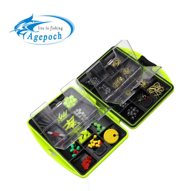 Agepoch 24 Kinds Above 100pcs Jig Lead Head Fishhook Swivel Snap Sinker Bead Connector Stopper Set Lure Case Fishing Tackle Box