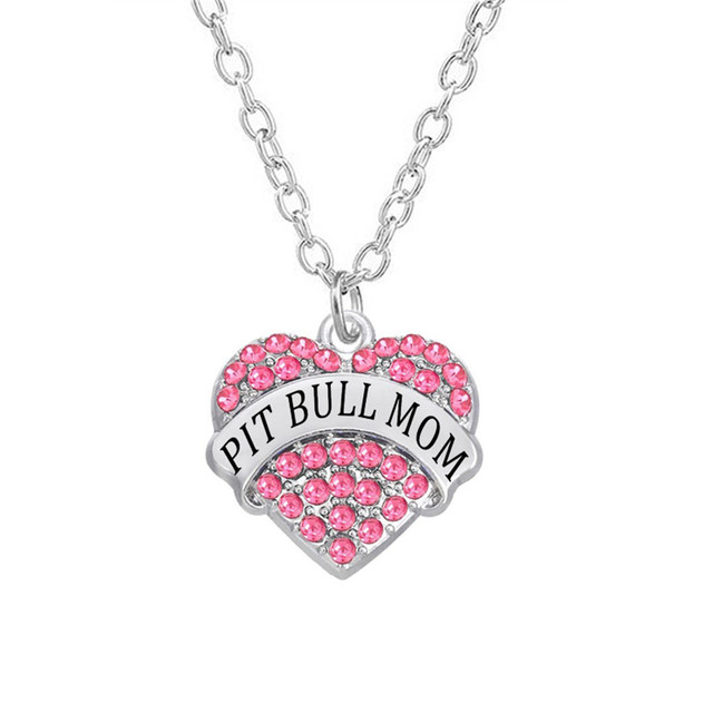 personalized engraved name pit bull mom necklace heart in rhinestone