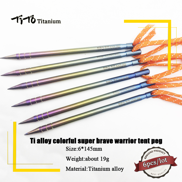 TiTo Titanium tent stake 6pcs 145/165mm colorful Ti Alloy Tent Peg Ti spike Stake Outdoor Camping Traveling Tent nail Building