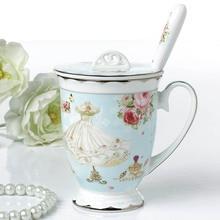 Britischen Gereinigtes Bone China Kaffeetasse Mit Deckel Keramik Hause Küche Zubehör Kaffee Becher Mit Löffel Weihnachtsgeschenke
