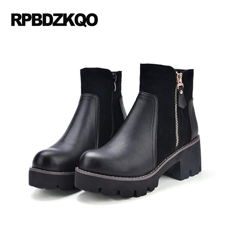 Round Toe Casual Shoes Women Ankle Boots Medium Heel High Chunky Black Platform Booties Autumn Fur Chinese Short Winter New block platform high heel ankle short women boots medium chunky round toe shoes autumn 2017 vintage black booties chinese ladies