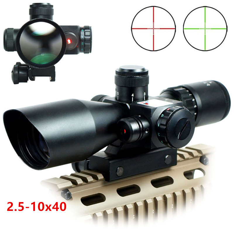 Tactical 2.5-10x40 Riflescope Green Red Dual Illuminated Rifle scope and Red Dot Laser Sight Hunting Scope Optical Sight caza 2 5 10x40 tactical rifle scope outdoor hunting accessories mil dot red green illuminated red laser mount rifle scope