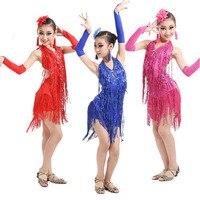 2019 New Girls Kids Modern Ballroom Latin Dance Dress 3 Colors Tassel Fringe Salsa Tango Dance Wear Performance Stage Wear