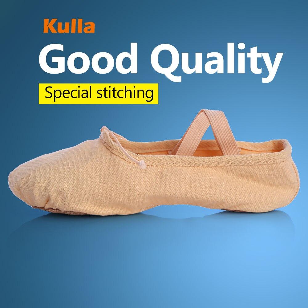 KULLA Hot Sale Wholesale Unisex Canvas Soft Slippers Dance Practice Ballet Shoes Child Flat Leather Heel