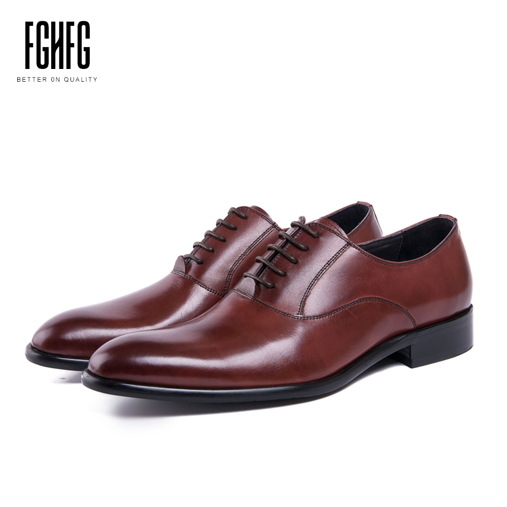 Men's Shoes Genuine Leather Cowhide Leather Pig Inner Round Toe Derby Dress Wedding Business Office Shoes 2018 New Lace-up classic men s genuine leather shoes cowhide leather pig inner pointed toe derby dress wedding business shoes 2018 fashion