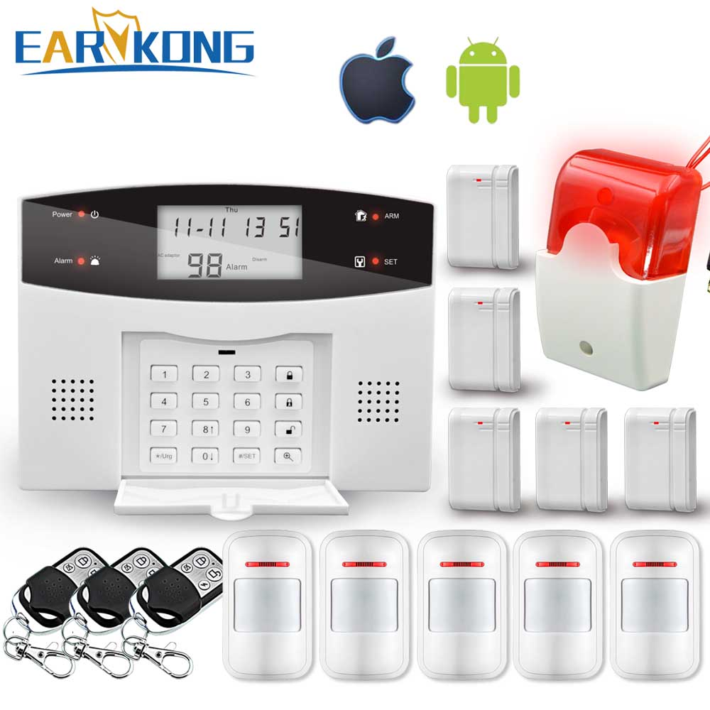 Wireless Wired PSTN GSM Alarm System 99 Wireless 4 Wired Zones Support Relay Output Smart Home Control Support Android IOS APP android ios app remote control wifi wireless wired lcd keypad smart gsm alarm system