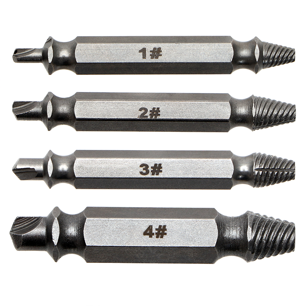 4Pcs/set Drill Bit Set Screw Extractor Set Convenience  Practical Tools Broken Bolt Remover Easy to use Damaged Screw Extractor screw extractor