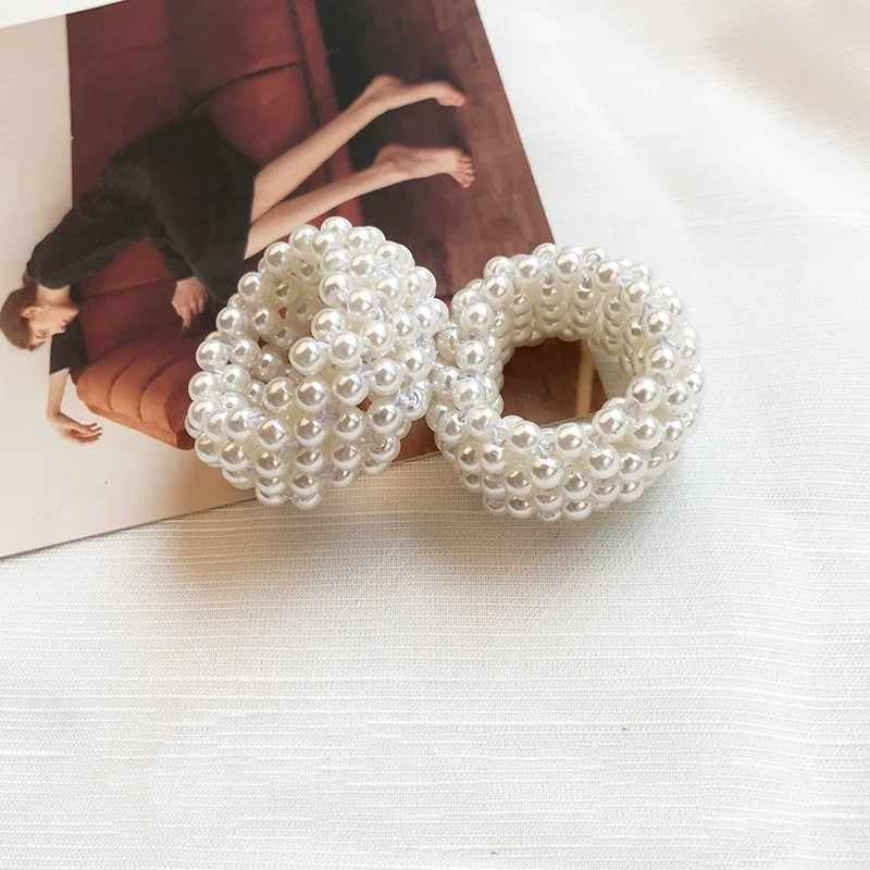 Fashion Girl Rope Scrunchie Ponytail Holder White Full Pearl Faux Pearl Beads Elastic Hair Bands Hair Accessories for Women