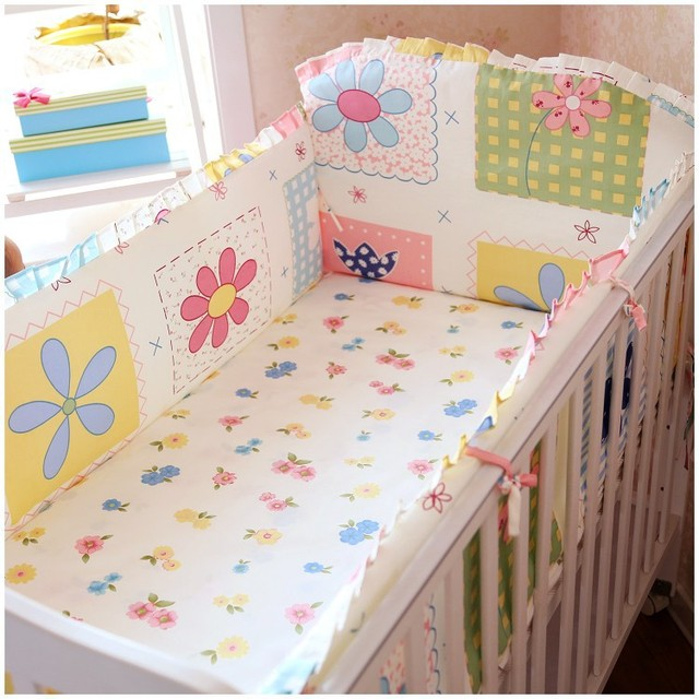 Promotion! 6PCS Crib Baby Bedding Set Baby Cot Set Crib Bumper Cot Bedding (bumpers+sheet+pillow cover)