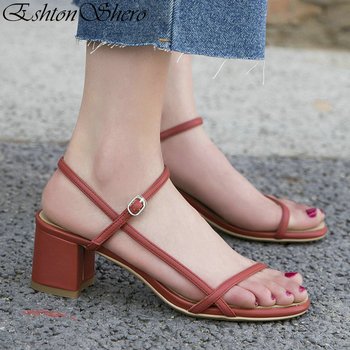 EshtonShero Women Sandals Summer Shoes Woman Square Med Heels Platform Genuine Leather Ankle Strap Ladies Wedding Shoes Size 3-9