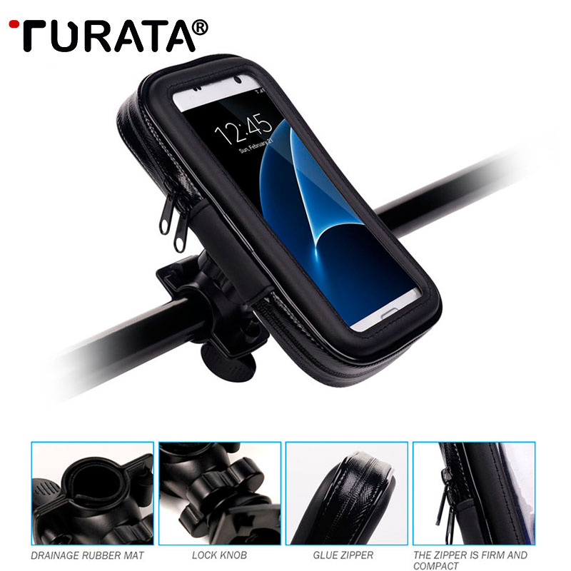 TURATA Universal Waterproof Motorcycle Bicycle Mobile Phone Holder Scooter Mount Holder Stand For Smartphone iPhone 5.5 inch