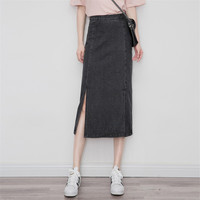 Spring Autumn Women Denim Skirt Slim Side Split High Waist Skirts Casual Midi Long Jeans Skirts