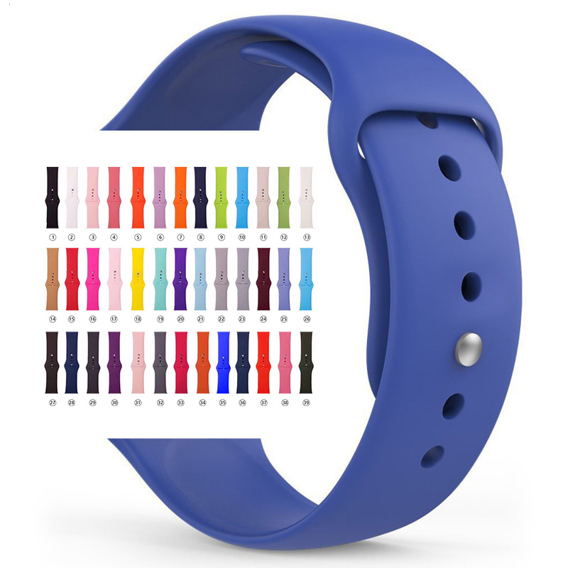 Soft Silicone Replacement Sport Band For Apple Watch Series 1/2/3 42mm 38mm Wrist Bracelet Strap for smart watch 40mm 44mm strap