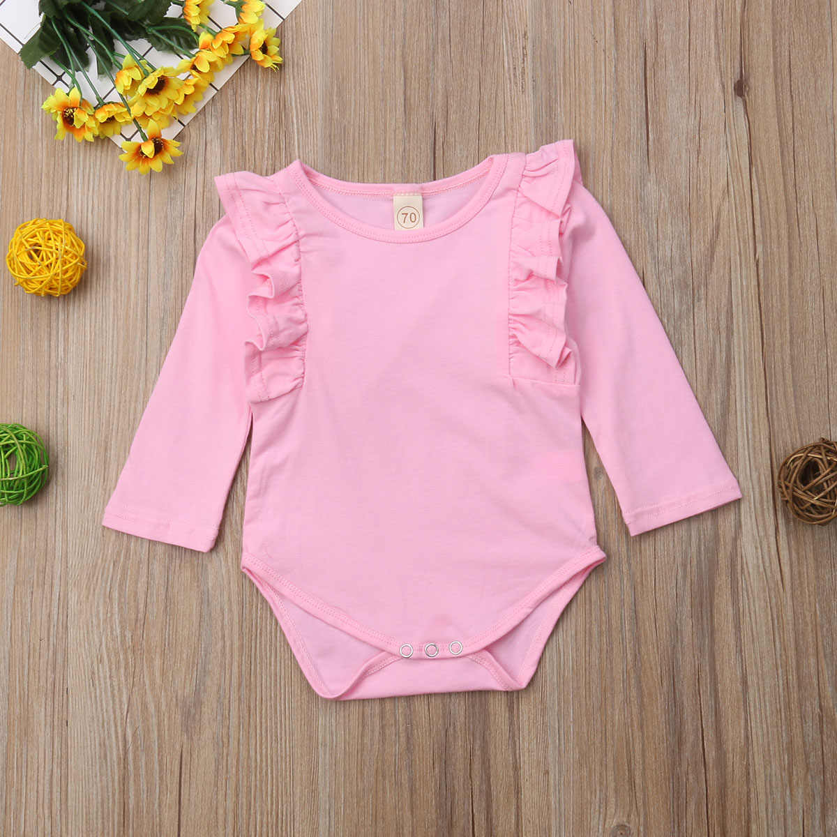 2018 Brand New Toddler Baby Girls Boys Causal Warm Autumn Bodysuits 5 Colors Long Ruffles Sleeve Solid Cotton Jumpsuits Playsuit