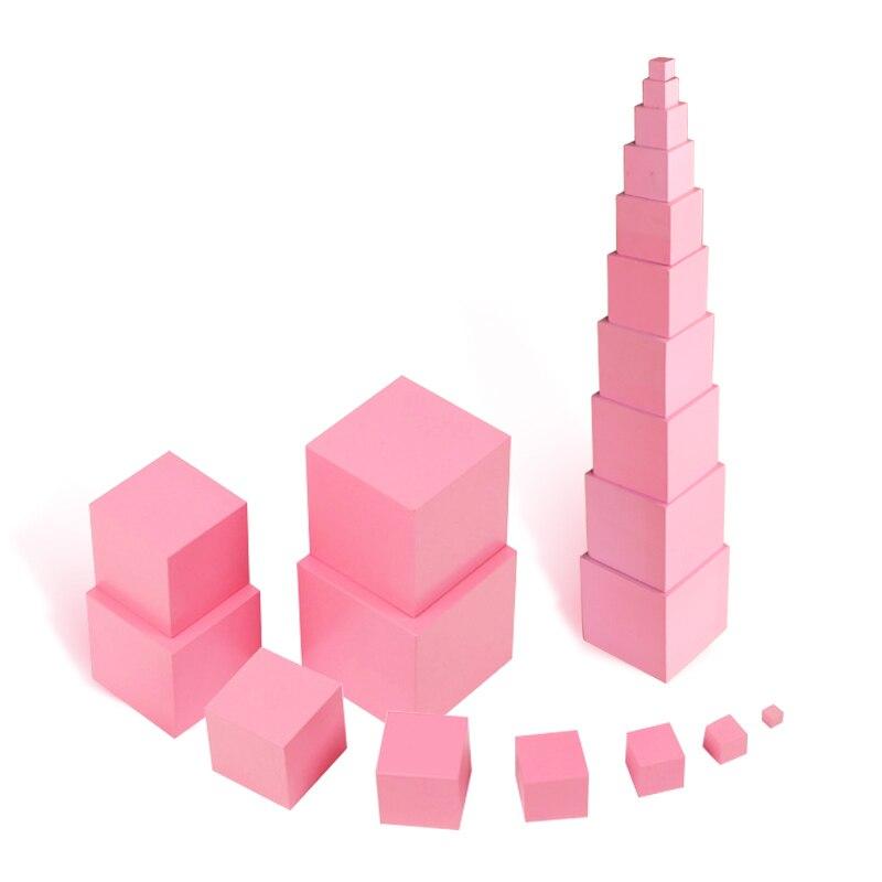 Montessori jouet bébé éducatif en bois blocs de construction en bois jouet rose tour enseignement jeu jouets