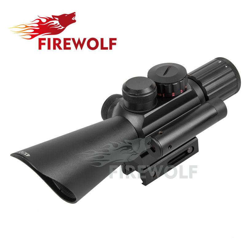 FIRE WOLF Tactical 4X30 Red Green Mil Dot Sight Scope w/Red Laser w/11mm 20mm Rail Mount Hunting Airsoft Chasse Caza m9 3 10x42 mil dot reticle red green illuminated sight rifle scope with red laser for airsoft hunting caza 20mm 11mm mount rail