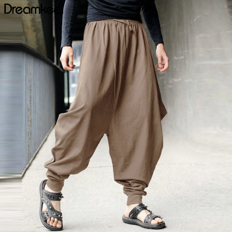 Men Linen Pants Summer Casual Harem Loose Pants Low Drop Crotch Wide-Leg Long Trousers Male Samurai Style Cropped Pants Y(China)