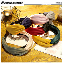 New Elastic Hair Band For Women Two-color Knotting Headbands Hair Bezel High-quality Wide Side Hair Hoop Girls Hair Accessories