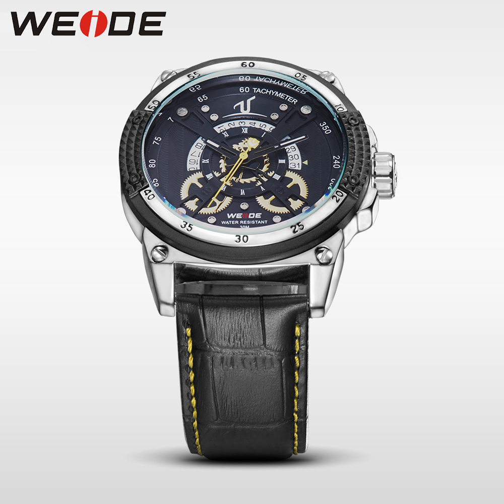WEIDE leather strap quartz sports wrist watch casual genuine men water resistant shocker analog luxury clock man watches army weide black watch men casual leather strap quartz yellow dial analog display water resistant big fashion high quality male clock