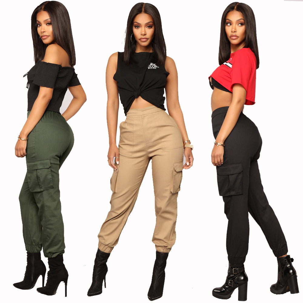 2019 Streetwear Cargo   Pants   Women Casual Joggers Black High Waist Loose Female Trousers Korean Style Ladies   Pants     Capri   XM402