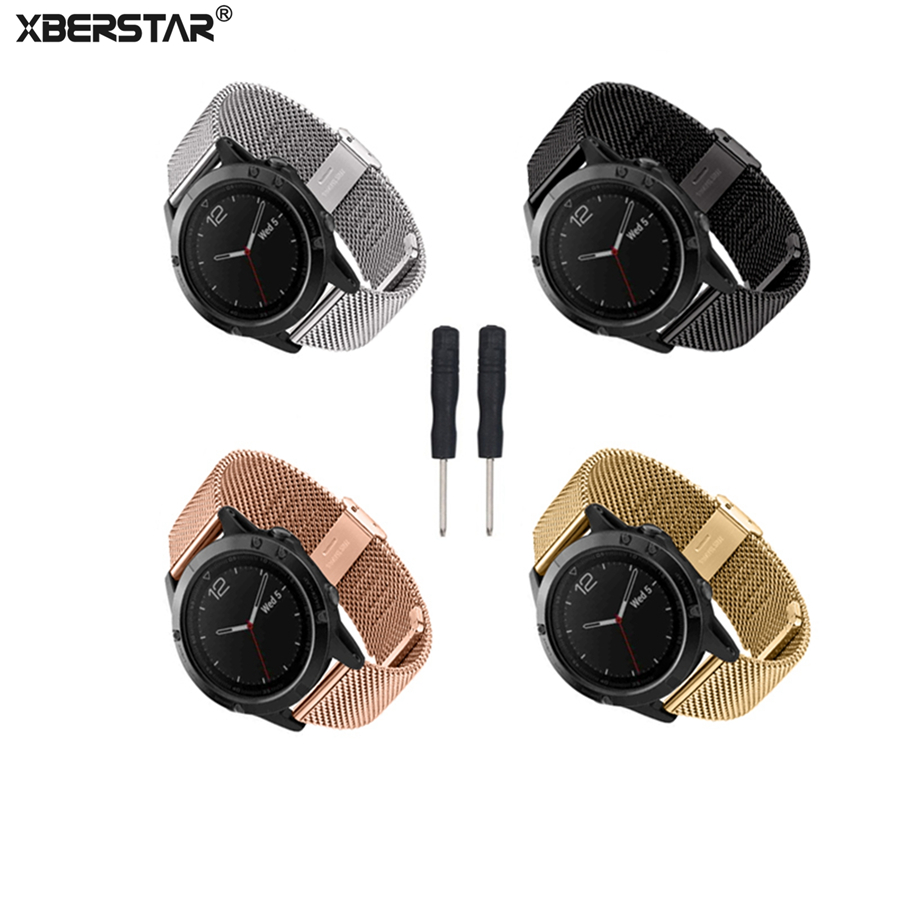 Milanese Stainless Steel Watch Strap Wrist Band for Garmin ...
