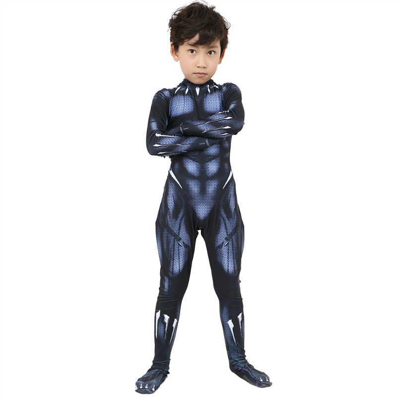 Black Panther Costume Child Adult Black Panther Cosplay Avengers 3 US Captain Cosplay Halloween Party Jumpsuit + Mask