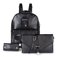 Fashion Stylish 3pcs Leather Women Backpack New Preppy Style Schoolbag Casual Shoulder Bag Backpack For Girls