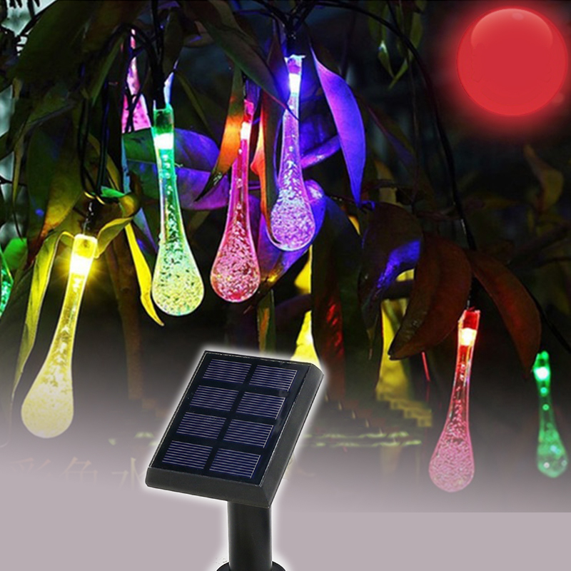 Solar Lamps LED String Water droplets type 50LEDs 7 Meters Garland Christmas Solar Lights for wedding garden party Decoration