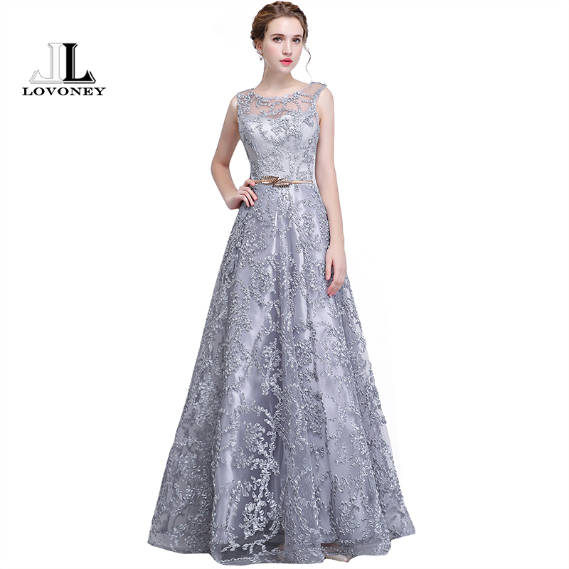 LOVONEY Elegant Evening Dress Long A Line See Though Back Formal Dresses Women Occasion Party Dresses With Belt 2019 New YS411
