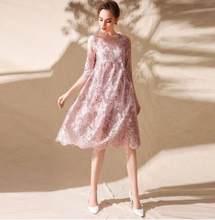 1d370cf35a317c Voorjaar 2018 nieuwe vintage borduurwerk netto grote size vrouwen haute couture  jurk g140