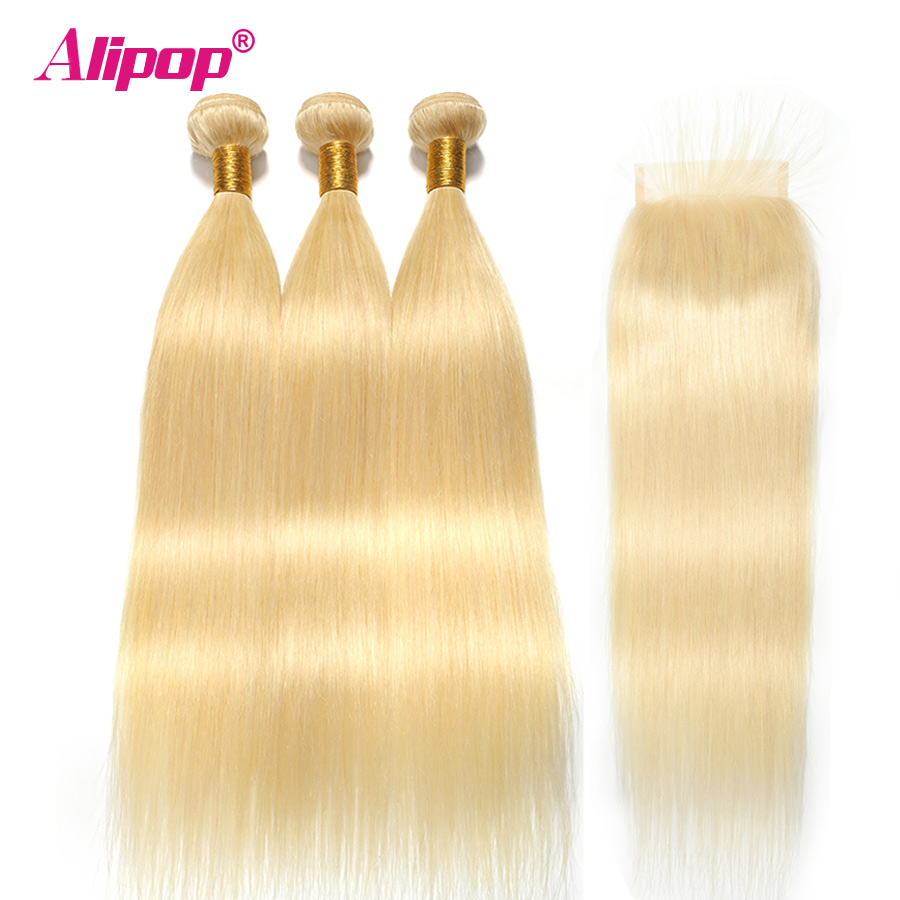 Alipop Peruvian Hair Straight Hair 3 Bundles With Closure 613 Blonde Color Hair Human Hair With