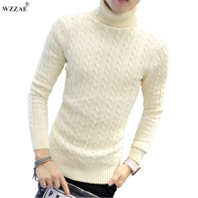 WZZAE 2017 New High Quality Brands Twist Sweater Knitting Winter Men's Turtleneck Cotton Sweater Jumpers Pullover Sweater Men