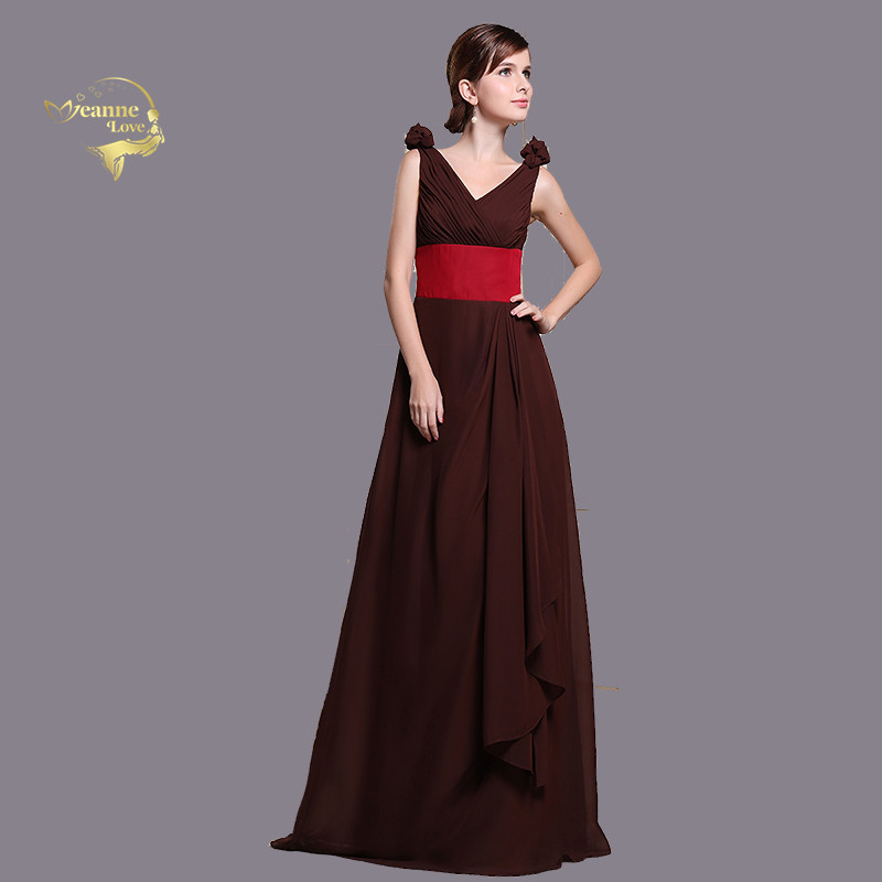 Brown Long   Bridesmaid     Dresses   Red Belt Formal Gown Long   Dress   for Wedding Party for Woman Maid of Honor   Dress   Elegant Robe Femme