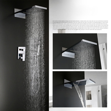 Wall Mounted Rainfall Shower Waterfall Brass Showerhead With Brass crane Shower Faucets Sets Bathroom Shower Set Concealed