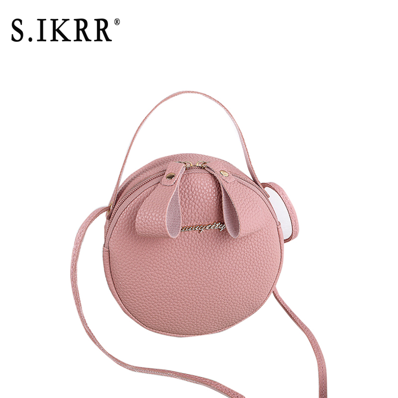 S.IKRR New Designer Cute Mini Ladies Circular Handbags Leather Soft Touch Women's Crossbody Shoulder Messenger Bags Girl Purse