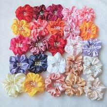 Женские атласные резинки для волос, Однотонные эластичные резинки для волос в виде пончика, 52 Цвета