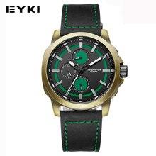 EYKI Deporte Casual Reloj Para Hombre Luminosos Pantalla Multifunción de Tres Ojos de Cuarzo de Los Hombres Relojes de Diseño A Prueba de agua Reloj Masculino
