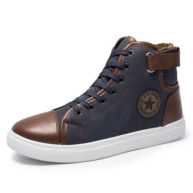 Erkekler günlük çizmeler Moda Erkek kanvas ayakkabılar Yüksek Üst Sneakers Erkekler 2018 Erkekler Kanvas Kışlık Botlar Artı Boyutu 38-47