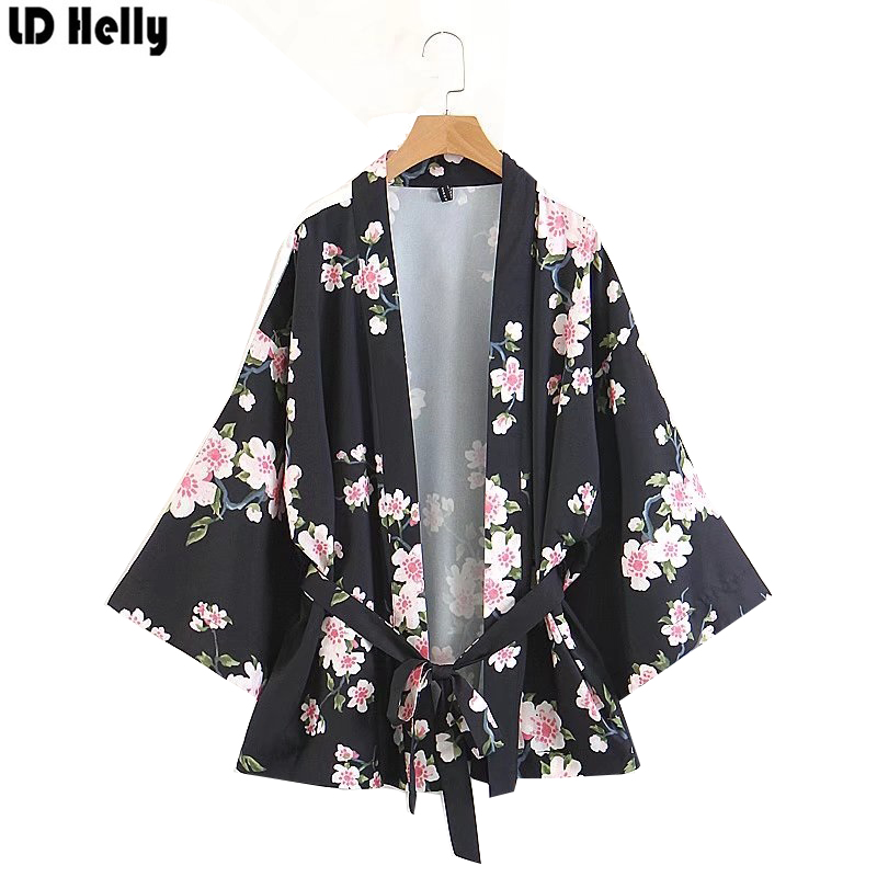 LD Helly Vintage 2018 Women Floral Printed Kimono Jacket Coats Fashion Summer Style Loose Casual Sashes Outerwear Female Tops