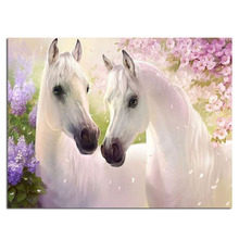 White horse diamond Embroidery diy painting mosaic diamant 3d cross stitch pictures H690
