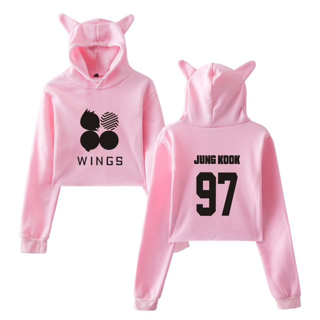 a9f0925aff4c BTS Kawaii Sweatshirts Kpop Album Love Yourself Tear Cat Crop Top Women  Hoodies Sexy Plus Size