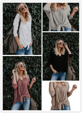 S-3XL v neck long sleeve t shirt tops autumn spring casual pure color holiday street style plus size