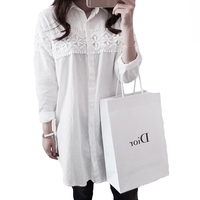New White Hollow Out Lace Shirts Women Summer Autumn Turn Down Collar OL Cotton Shirt Patchwork