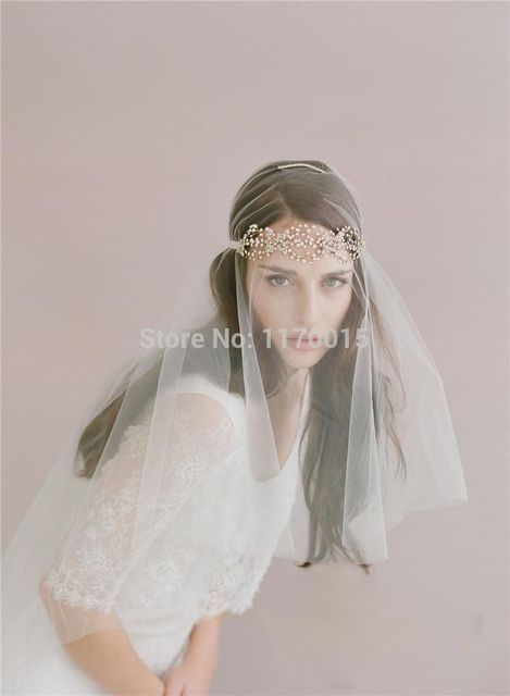 Hot Romantic One Layer White Bridal Veils Beaded Headpieces Crystal ...