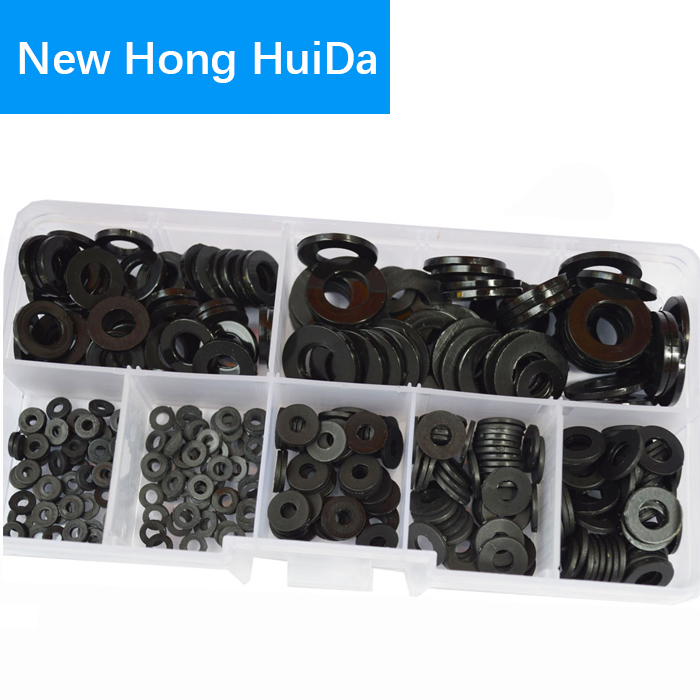 Nylon Flat Round Plastic Washer M2 M2.5 M3 M4 M5 M6 M8 Assortment Kit Black 350pcs