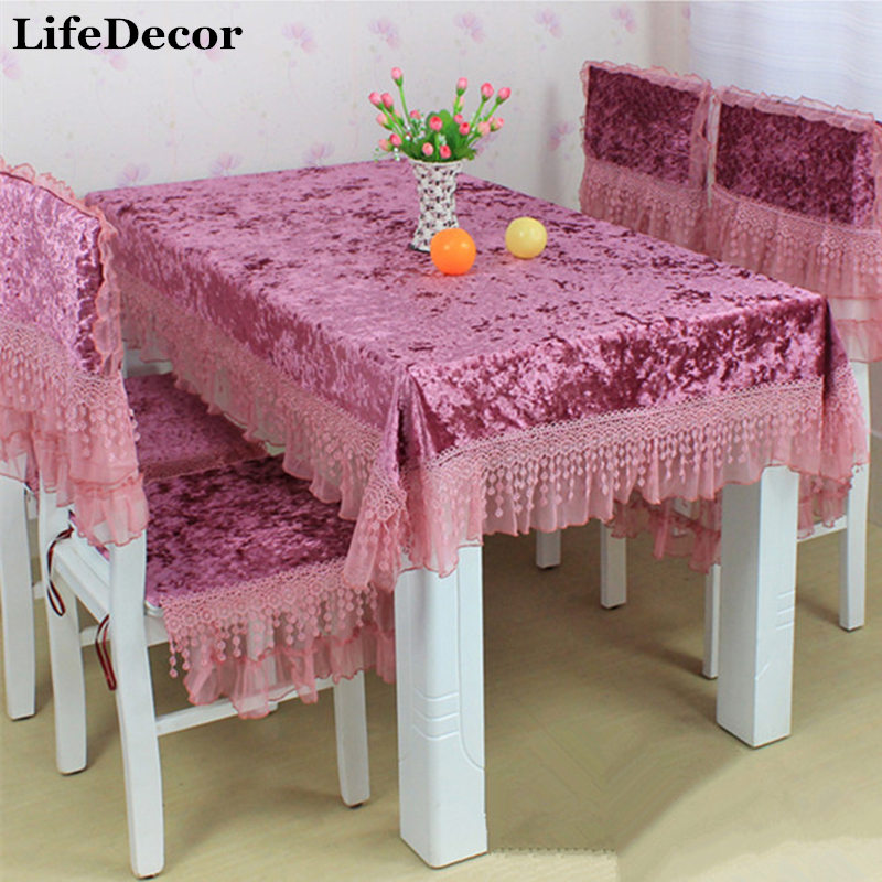 Rustic Fabric Lace Table Cloth Chair Covers Set Tablecloth Fashion Gold Velvet Dining Cover