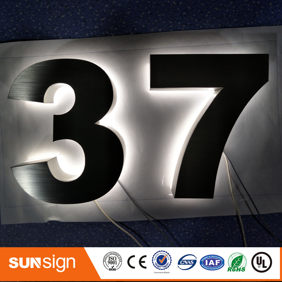 New Arrival! 3D LED Backlit Brushed Stainless Steel Letters Business Signs For Outdoor Advertising