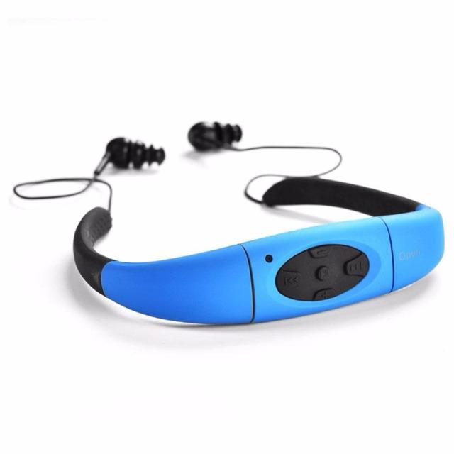 Deportes IPX8 Subacuática Impermeable 8 GB Natación MP3 Reproductor de Música Banda Para El Cuello Auriculares Estéreo FM Radio Music Earphone Headset