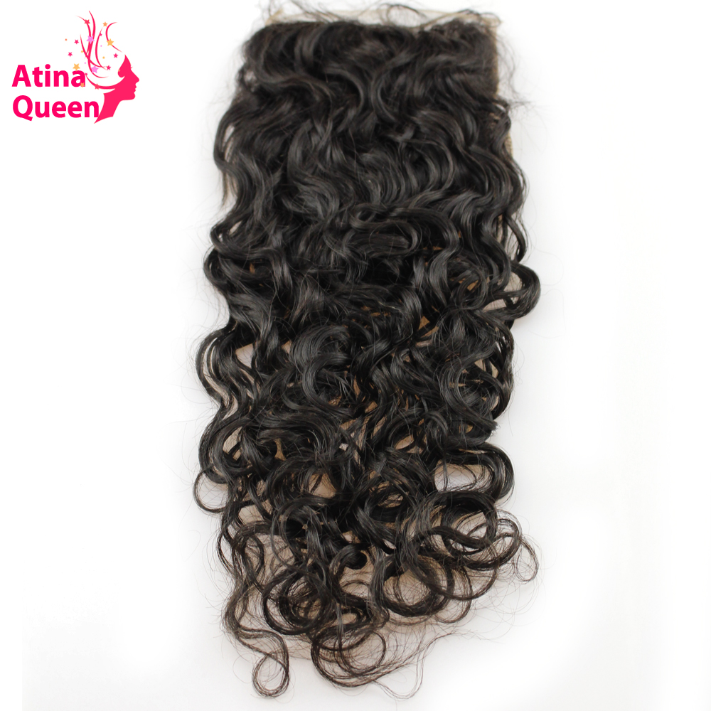Atina Queen Hair Products Water Wave Virgin Brazilian Hair 10 20inch 4 4 Human Hair Lace