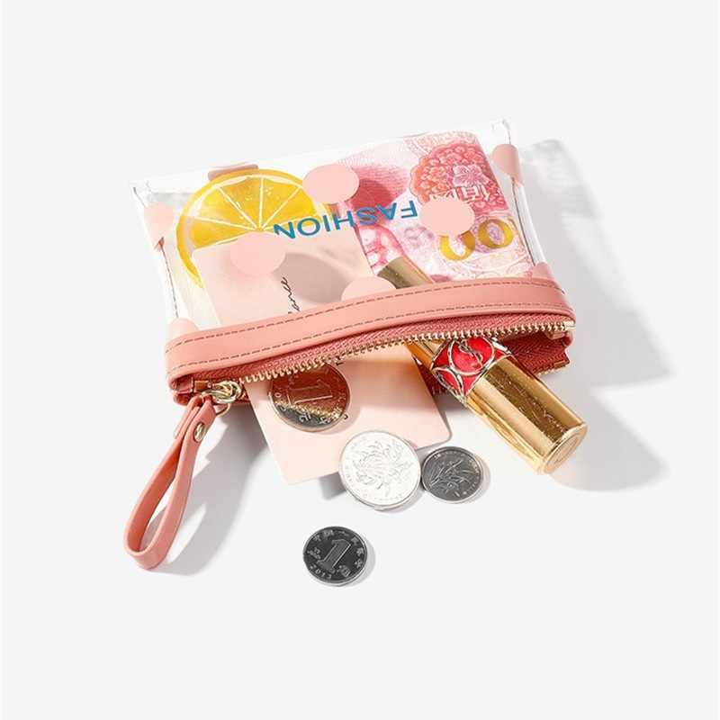 חמוד שקוף PVC ארנק ארנק נשים ארנק מטבע פאוץ תיק פשוט עם דוט PVC אופנה קצר ברור נשים מטבע תיק עם רצועה